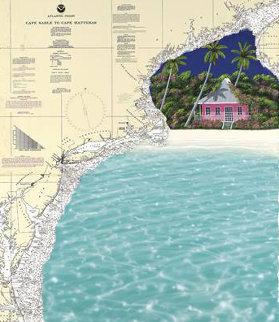 Cape to Cape on Nautical Chart 53x45 Super Huge Original Painting - Dan Mackin