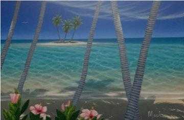 Three Palm Island 2000 32x28 Original Painting - Dan Mackin