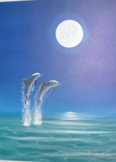 Sea Spray Moon 2000 19x15 Original Painting by Dan Mackin