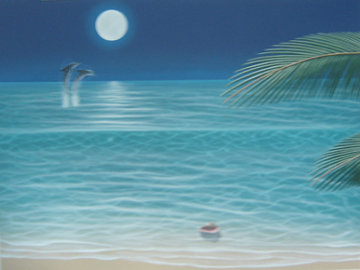 Moonlit Palms 2002  48x36 Super Huge Original Painting - Dan Mackin