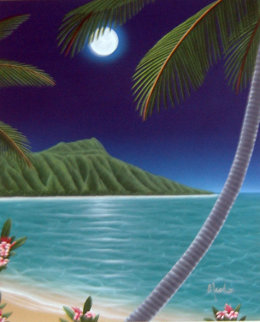 Diamond Head Moon 2000 48x42 Super Huge Original Painting - Dan Mackin