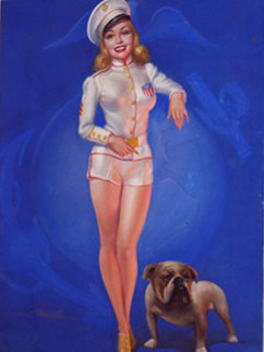 Untitled Sailor Girl Pastel 1940 40x30 Original Painting - Earl MacPherson