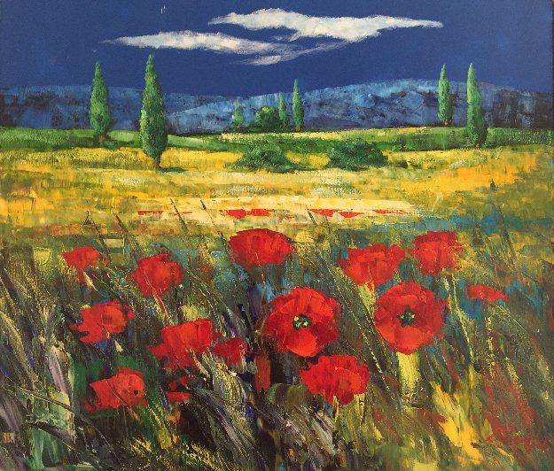 Tuscan Countryside With Poppies 2000 32x36 Original Painting by  Madjid