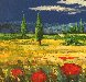 Tuscan Countryside With Poppies 2000 32x36 Original Painting by  Madjid - 1