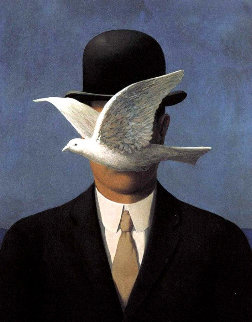 Man With Bowler Hat and Dove Limited Edition Print - Rene Magritte