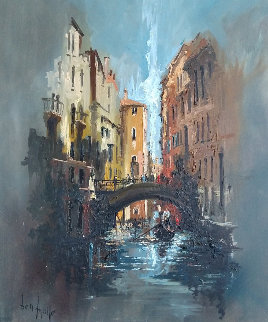 Untitled (Venice Canals) 36x29 Original Painting - Ben Maile