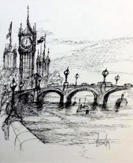 Westminster Bridge Drawing 2013 13x11 Drawing by Ben Maile