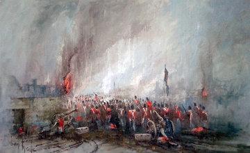 Rain, Mud And Flames of Waterloo 1975 55x37 Huge Original Painting - Ben Maile