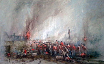 Rain, Mud And Flames of Waterloo 1975 55x37 Super Huge Original Painting - Ben Maile