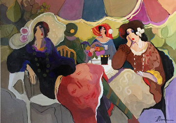 Bon Jour 2007 43x59 Huge Original Painting - Isaac Maimon