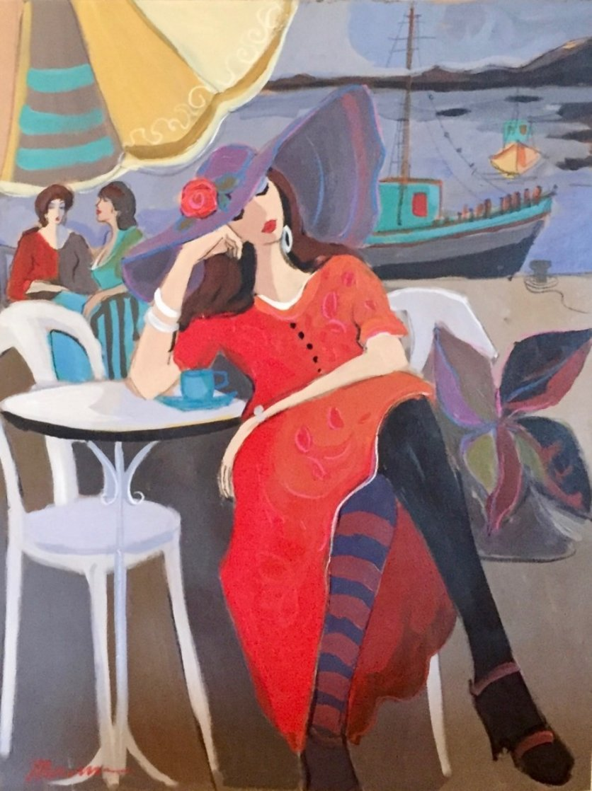 By the Riverside 2001 30x40 Huge Original Painting by Isaac Maimon