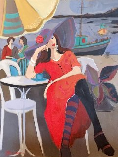 By the Riverside 2001 30x40 Original Painting - Isaac Maimon