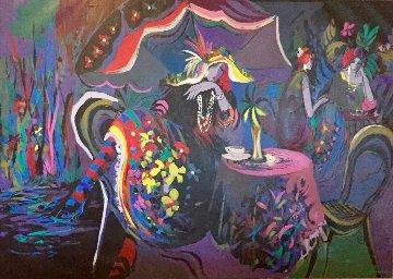 Le Cafe Nuit 1991 54x77 Huge  Original Painting - Isaac Maimon