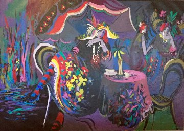 Le Cafe Nuit 1991 54x77 Super Huge  Original Painting - Isaac Maimon