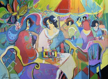 Paris in Spring Time 42x52 Huge  Original Painting - Isaac Maimon