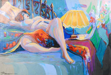 Reclining Semi-Nude Female In Her Boudoir 30x40 Original Painting - Isaac Maimon