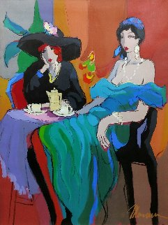 Cafe Barcelona 40x29 Original Painting - Isaac Maimon
