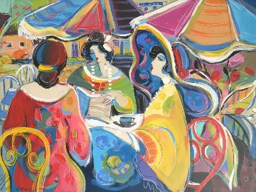 Conversations 2015 36x46 Original Painting - Isaac Maimon