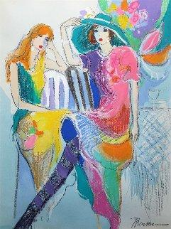 Spring Hat 1994 41x33 Original Painting - Isaac Maimon
