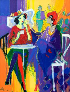 Tea Time 37x31 Original Painting - Isaac Maimon