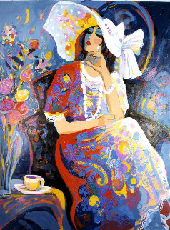 Sitting Pretty 1999 50x40 Huge Original Painting - Isaac Maimon