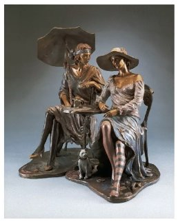 Cafe Carnivale Set of 2  Bronze Sculptures 19x7 Sculpture - Isaac Maimon