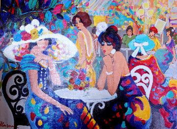 Cafe La Parisienne 2000 40x50 Huge Original Painting - Isaac Maimon