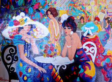 Cafe La Parisienne 2000 40x50 Super Huge Original Painting - Isaac Maimon