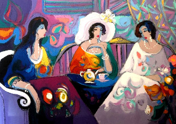 Expressions 1992 40x55  Huge Original Painting - Isaac Maimon