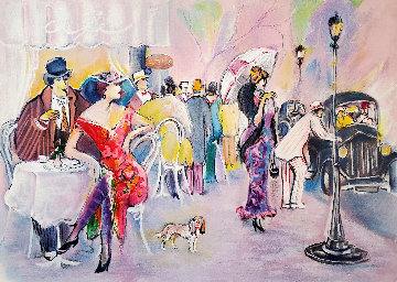 Cafe Scene Limited Edition Print by Isaac Maimon