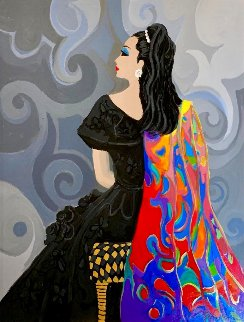 Portrait of a Seated Woman in Black 50x40 Super Huge Original Painting - Isaac Maimon