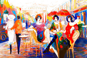 La Petite Promenade 45x65 Super Huge Original Painting - Isaac Maimon