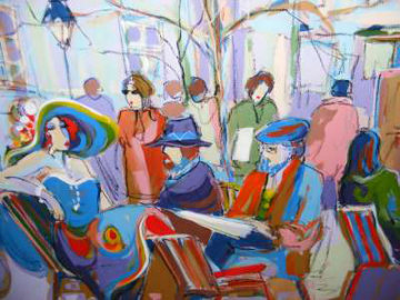 Lunch Outdoors 30x40 Huge Original Painting - Isaac Maimon