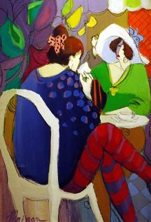 Tea for Two 1991 40x24 Original Painting by Isaac Maimon