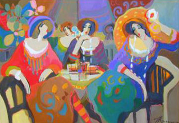 Untitled Cafe Ladies 2007 34x50 Super Huge Original Painting - Isaac Maimon