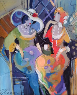Pair of Gals 27x23 Original Painting - Isaac Maimon