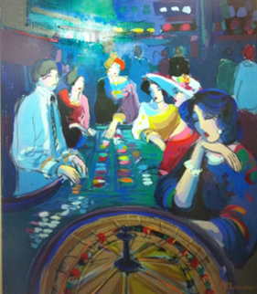 Untitled Casino 41x31 Original Painting - Isaac Maimon