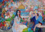 Cafe Du Ville 1995 39x55 Original Painting - Isaac Maimon