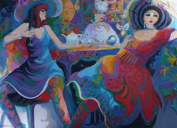 Happy Hour II 1998 39x55 Huge Original Painting - Isaac Maimon