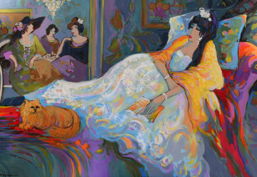 Dreaming 1998 38x54 Huge Original Painting - Isaac Maimon