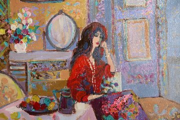 Lady Contemplating 1980 33x37 Original Painting by Isaac Maimon