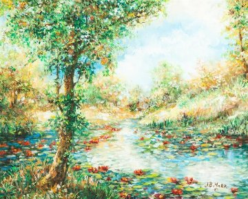 Fall Leaves 32x39 Original Painting - A.B. Makk