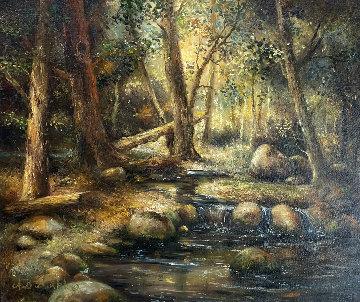 Forest Stream 1977 27x31 Original Painting by A.B. Makk
