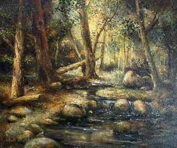 Forest Stream 1977 27x31 Original Painting - A.B. Makk