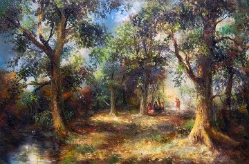 Serene Woods 1977 31x43 Original Painting - A.B. Makk