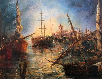 Turquoise Ripples 36x30 Original Painting by A.B. Makk