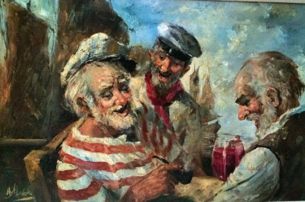Old Salts 1970 44x32 Original Painting by Americo Makk