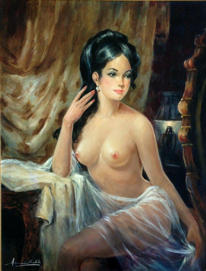 Pearl Earring 47x37 Super Huge Original Painting by Americo Makk