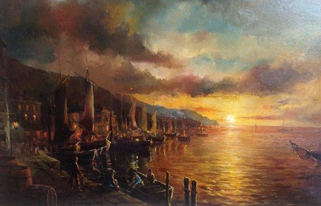 Sunset 1970  (Early) 34x46   Original Painting by Americo Makk