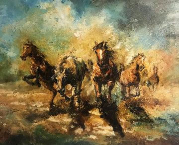 Running 29x35 Original Painting - Americo Makk